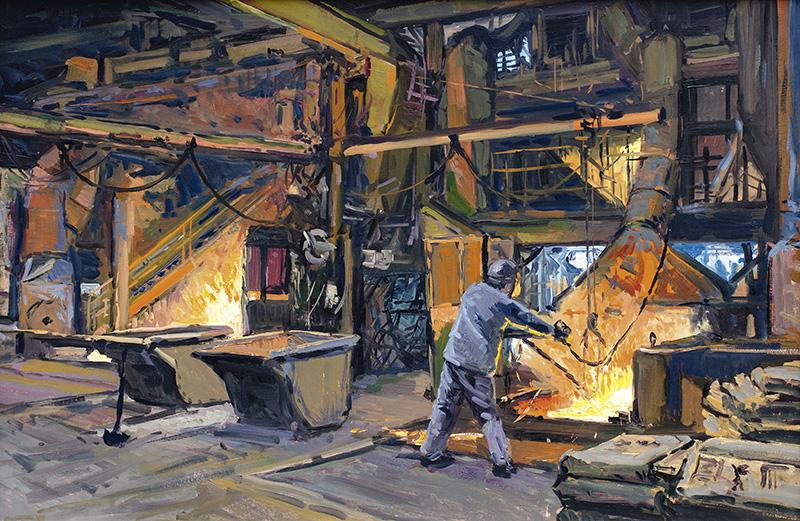 H.D. Tylle - Am Schmelzofen (Studie), Dura-Bar, Woodstock, Il, USA, 28.03.2014, 40 x 60 cm, Öl/Malkarton