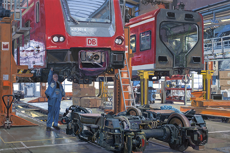 "HD Tylle - Maintenance tram 425, DB factory Nuremberg, Germany, 2016, 80 x 120 cm, oil / canvas <br> <a style = ""color: # 969"" href = ""mailto: info@tylle.de? Tractors 425 ""> Price inquiry </a>"